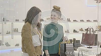 Primos fêmeas que andam nos sacos de compras levando da alameda e que procuram um par do estilete de sapatas para combinar o vest vídeos de arquivo