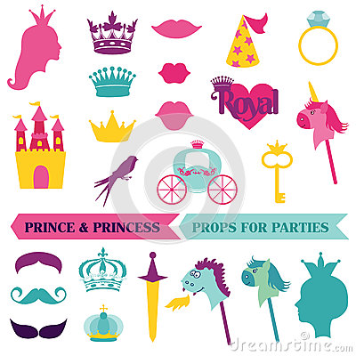 Free Prince And Priness Party Set Stock Images - 33821874