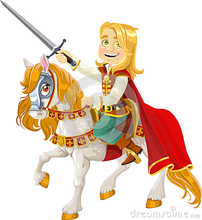 Prince Charming on horse ready for act of  bravery