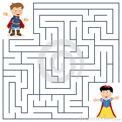 Free Prince & Princess Maze For Kids Stock Images - 30649364