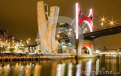 Princes of Spain bridge or La Salve bridge at night in Bilbao, S Editorial Photography