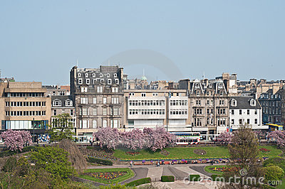 Princes Street and its gardens, Edinburgh Editorial Image