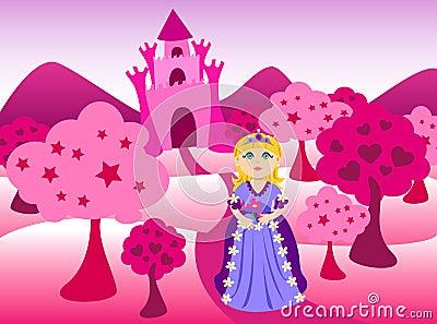 Princesa e paisagem cor-de-rosa do castelo