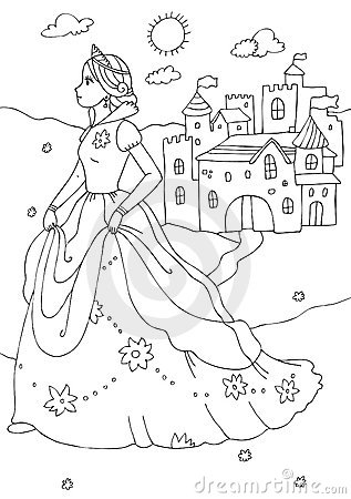 Princess And Castle Coloring Page Royalty Free Stock Images Image