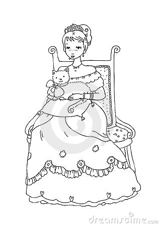 Princess with Cat Coloring Page