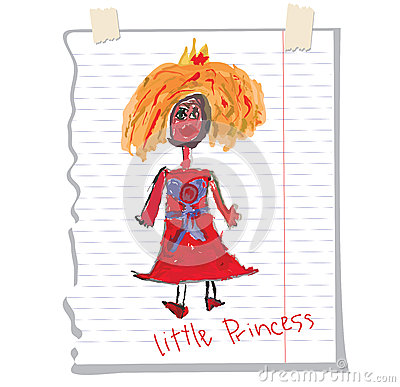Princess Children's Hand Drawing.Doodle On Notebook Sheet ...