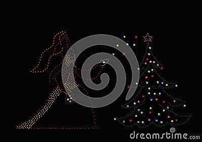 Princess and christmas tree
