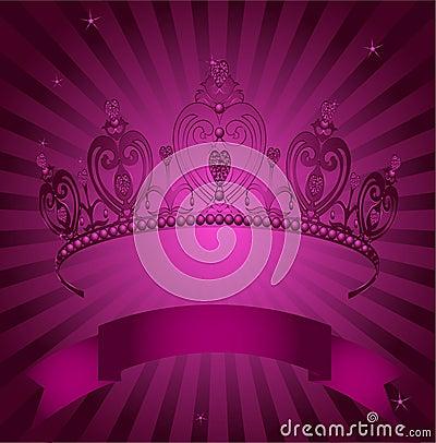 Princess Crown on radial grange background