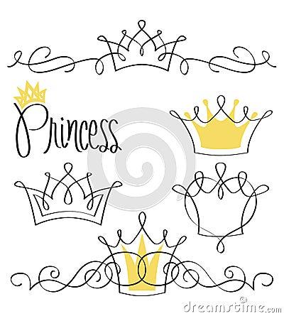 Free Princess Crown Set/eps Royalty Free Stock Images - 25442509