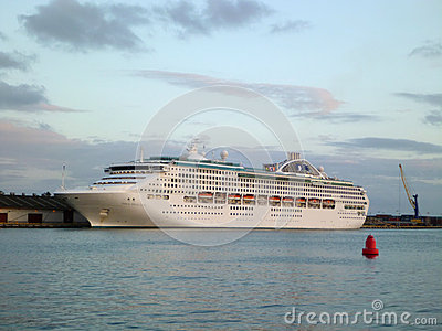 Princess Cruise Dawn Princess ship sits docked in Honolulu Harbo Editorial Stock Image