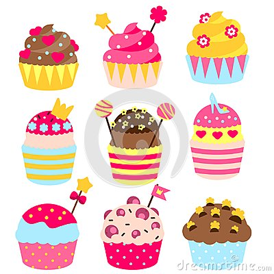 Free Princess Cupcakes Decorated With Crown, Hearts, Candies, Sweets. Bakery In Pink, Yellow Colors. Birthday Party Pastry Food For Gir Stock Photography - 99307342