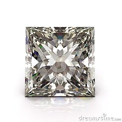 Princess cut diamond. Beautiful  shape emerald image with reflective surface. Render brilliant jewelry stock image.