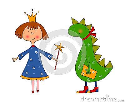Princess and dragon. Cartoon characters