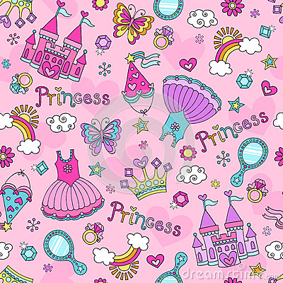 Princess Fairy Tale Doodles Seamless Pattern Vecto