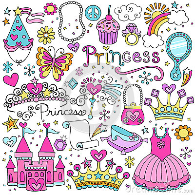 Free Princess Fairytale Tiara Vector Doodles Set Royalty Free Stock Photos - 28768318