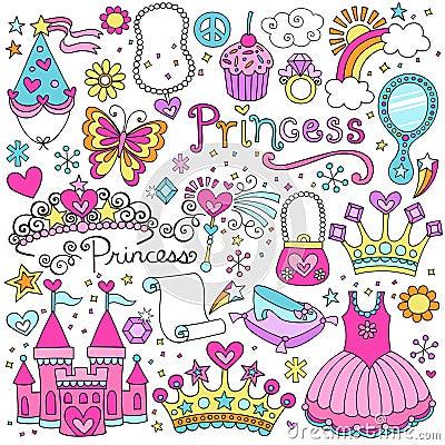 Princess Fairytale Tiara Vector Doodles Set