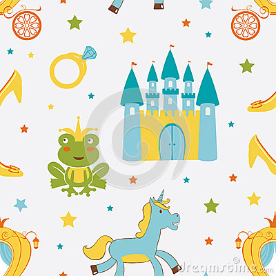 Princess frog seamless pattern