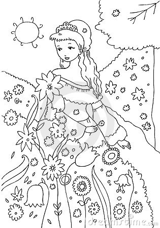 princess in the garden coloring page - Royalty Free Coloring Pages