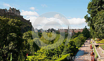 Princess Gardens with Edinburgh castle Editorial Stock Photo