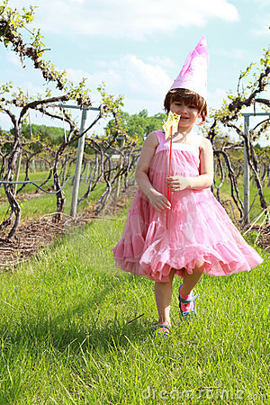 Princess girl in vineyard