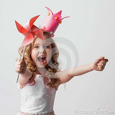 Free Princess Girl With Pinwheel Royalty Free Stock Photos - 104190128