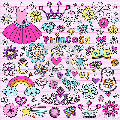 Free Princess Groovy Notebook Doodles Stock Photo - 18898610