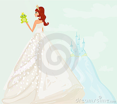 Princess kissing a big frog