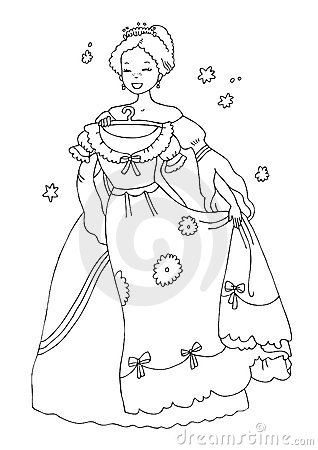 Princess with new dress Coloring Page