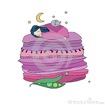Free Princess On The Pea. Blankets And Pillows. Royalty Free Stock Photography - 82866407