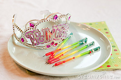Princess party tiara and birthday candles