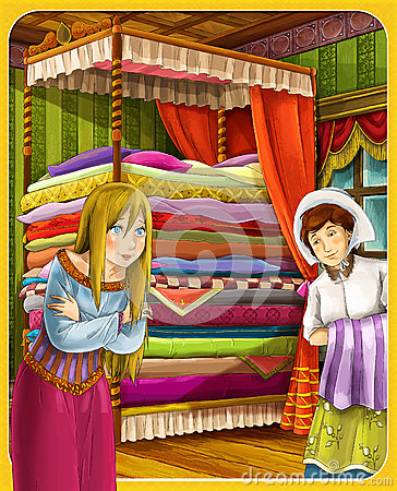Princess and the Pea - The princesses castles - knights and fairies - Beautiful Manga Girl - illustration for the children