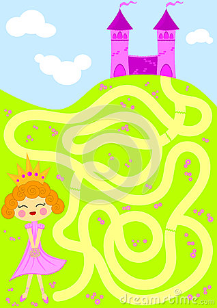 Free Princess Picking Flowers Maze Game Royalty Free Stock Images - 25025929