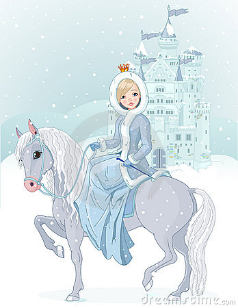 Free Princess Riding Horse At Winter Royalty Free Stock Photography - 22960597