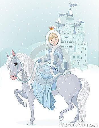Princess riding horse at winter