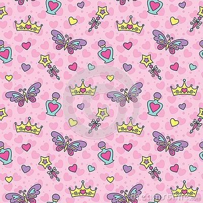 Free Princess Seamless Pattern Stock Photo - 25021610
