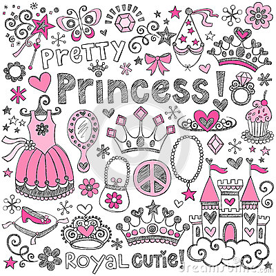 Princess Tiara Royalty Sketchy Doodles Vector Set