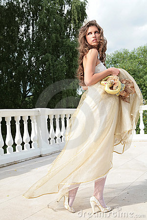 Princess in white-golden gown