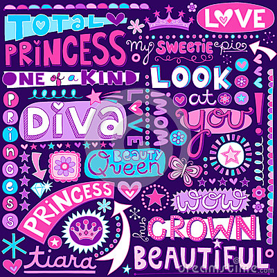 Princess Word Doodles Beauty Pagent Vector Illustr