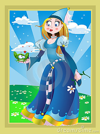 Princessand frog on the Fairytale landsсape