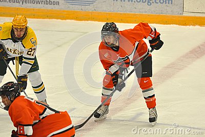 Princeton #15 in NCAA Hockey Game Editorial Photography