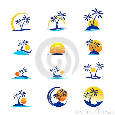 Set Of Holiday and Travel Logo Design Stock Photo
