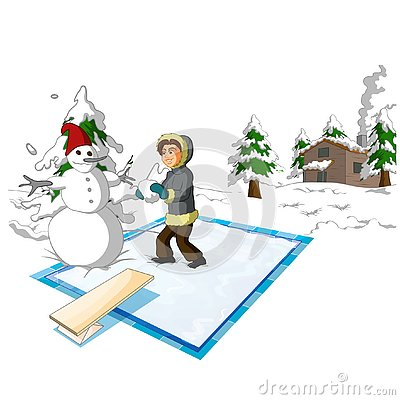 Physics - Frozen pool and boy version 01 Vector Illustration