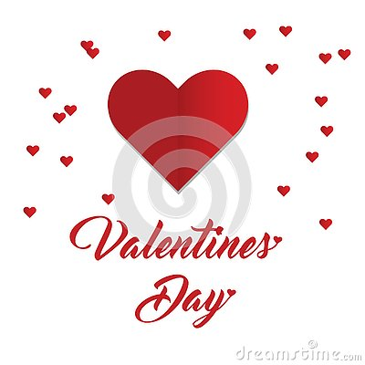 Happy Valentine`s Day with heart shape Vector Illustration