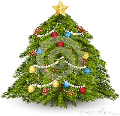 Decorated christmas tree Vector Illustration