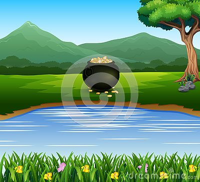 Black pot of coins on the lakeside with mountain background Vector Illustration