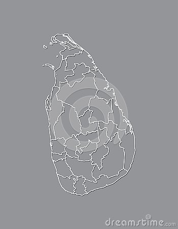 Sri Lanka vector map with border lines of districts using gray color on dark background illustration Vector Illustration
