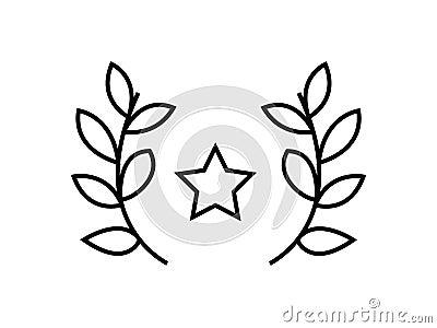 Star prize leaves symbol Vector Illustration