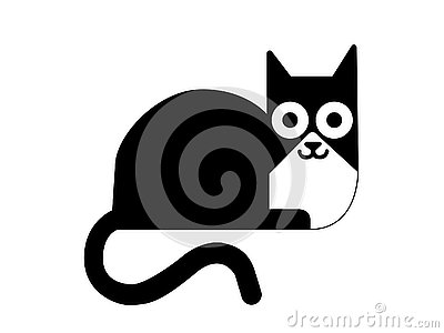 Blacn and white cat illustration symbol Vector Illustration