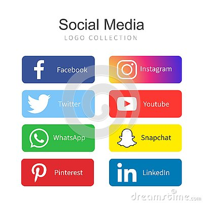 Popular Social Media logo collection Editorial Stock Photo