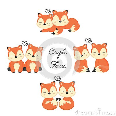 Set of Cute couple foxes in love. Woodland animal in cartoon style. Vector Illustration
